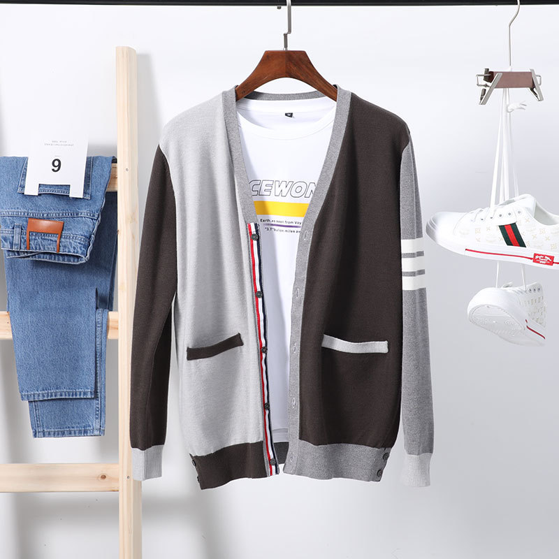 Autumn 2020 new mens knitted cardigan TB stitching color contrast casual V-neck knitted sweater sweater jacket fashion