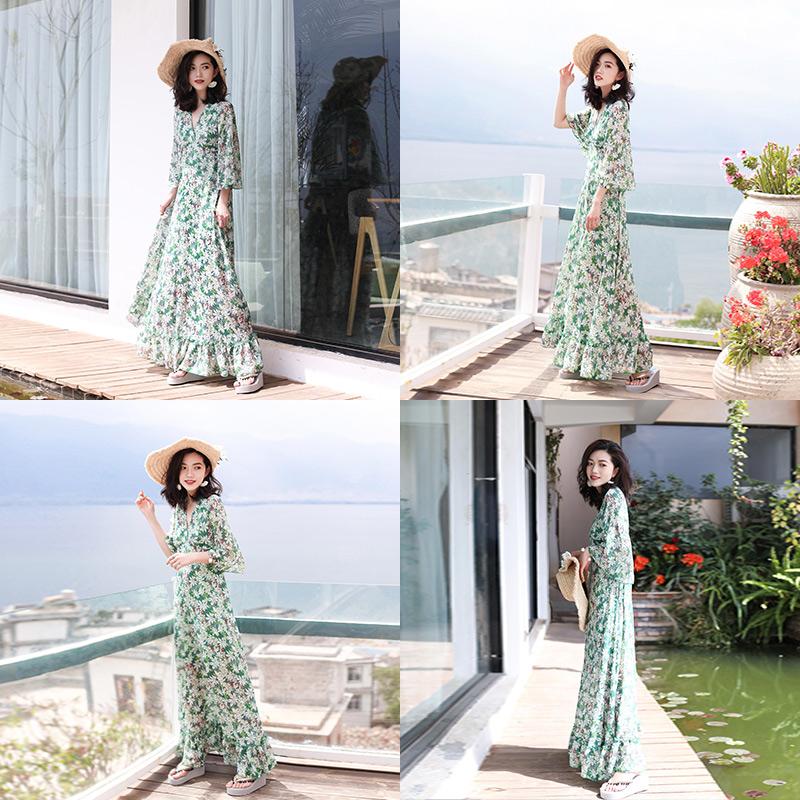 连衣裙女夏2019新款大码海边度假长裙超仙波西米亚显瘦三亚沙滩裙