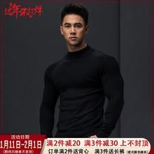 撸铁狼秋冬男士健身运动高领长袖毛衣针织衫套头紧身显肌肉打底
