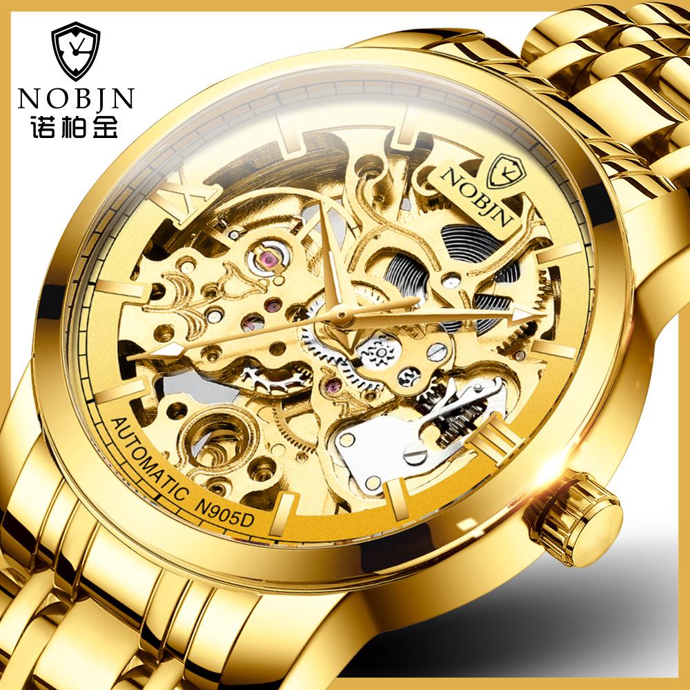 瑞士NOBJN诺柏金全自动机械男士手表时尚品牌机械表镂空男士手表