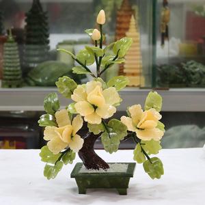 玉石盆栽牡丹花卉客厅摆件酒柜电视柜家居装饰花仿真花开富贵