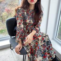 韩国ins洋气复古满屏碎花圆领压褶设计收腰显瘦中长款长袖连衣裙