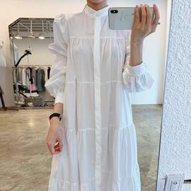 韩国chic法式气质立领单排扣宽松皱褶感泡泡袖衬衫式连衣裙长裙女