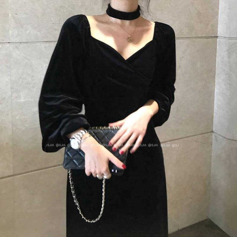 韩国chic秋季赫本风显瘦V领项圈装饰修身过膝长款连衣裙小黑裙女图片