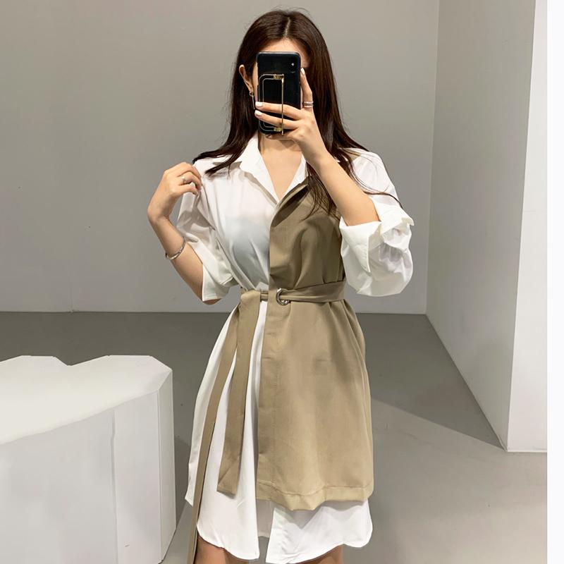 韩国chic秋季气质优雅翻领撞色假两件系带收腰长袖衬衫式连衣裙女
