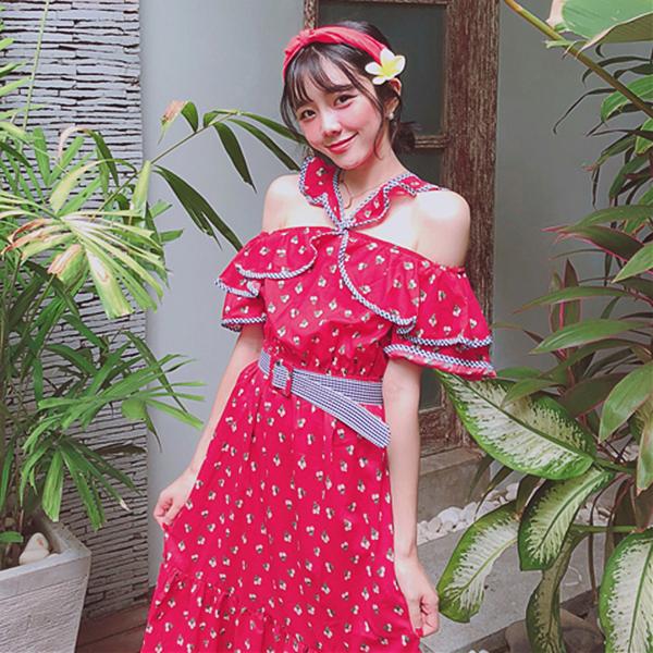 良良家 韩国chic甜美小姐姐满屏樱桃花交叉露肩长款连衣裙配皮带