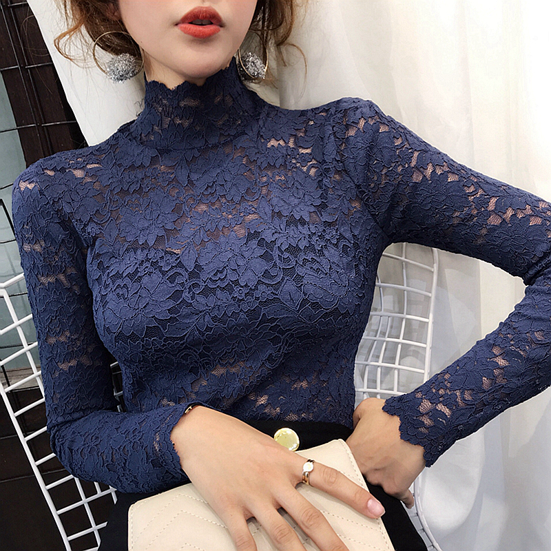 2020 new high neck long sleeve lace shirt womens Korean spring and autumn tight T-shirt with hollow mesh underlay