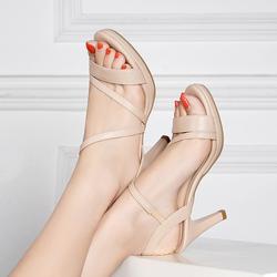 高跟凉鞋女足意尔康2020夏季新款真皮粗跟女鞋百搭一字扣高跟鞋潮
