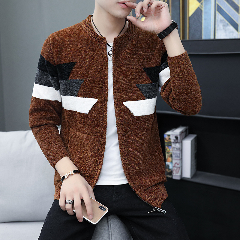 New autumn and winter trend in 2020: Mens color matching sweater coat, youth handsome, foreign trade comfortable sweater