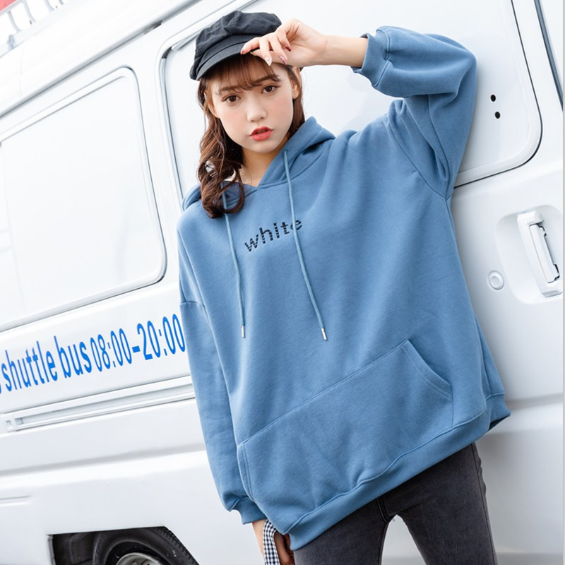 Haze blue sweater womens autumn and winter oversize 2020 new long sleeve Korean loose Plush thickened Hoodie