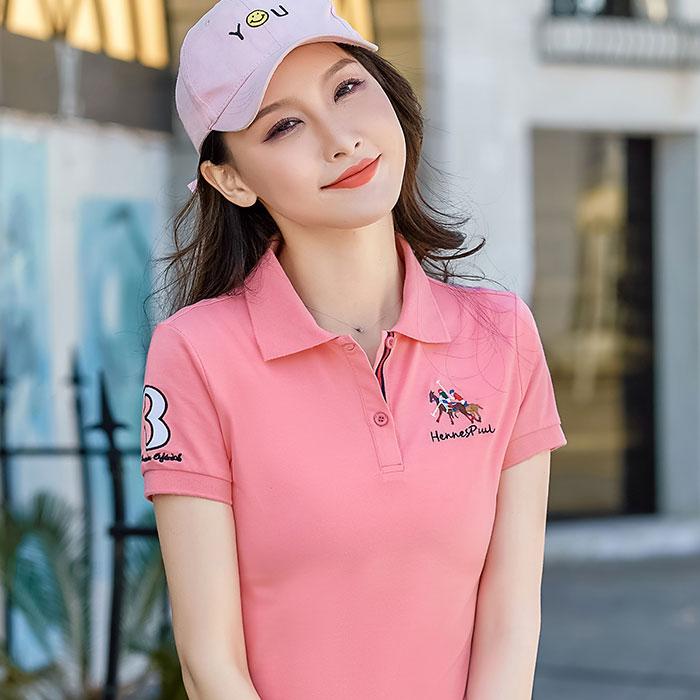 Short sleeved womens 2019 new fashion womens summer collar sports womens top loose Lapel polo t-shirt