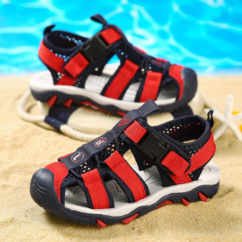 Childrens Baotou sandals 2020 summer new boys Beach Shoes 6 middle school, big children, primary school students, 8 soft soles, anti-skid and wear-resistant
