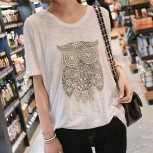 韩国2019新款夏装大码宽松短袖T恤女显瘦猫头鹰薄款竹节棉上衣潮