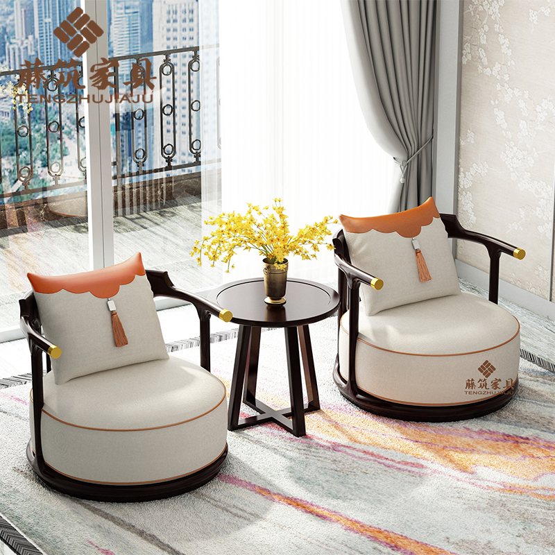 New Chinese style solid wood balcony sofa chair modern Zen leisure chair three piece light luxury copper armchair
