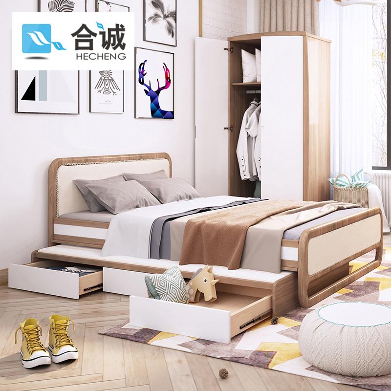 合誠実木北欧子供用ベッド男の子1.2 mベッドルーム子供用ベッド、モップ付き親子引きベッドシングルベッド