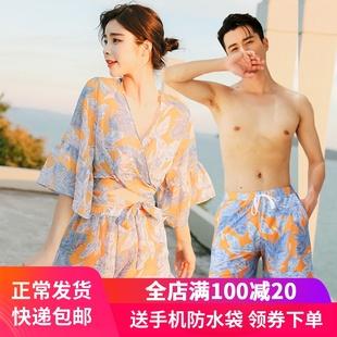 情侣泳衣分体裙式小胸聚拢钢托比基尼三件套罩衫遮肚韩国温泉泳装