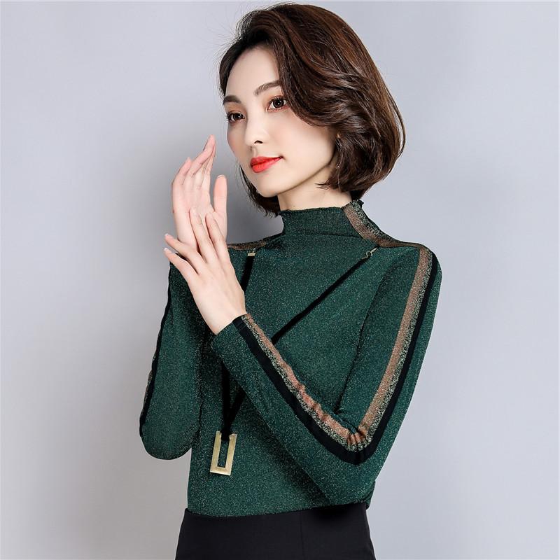27.80元包邮长袖t恤2019新款韩版网纱打底衫