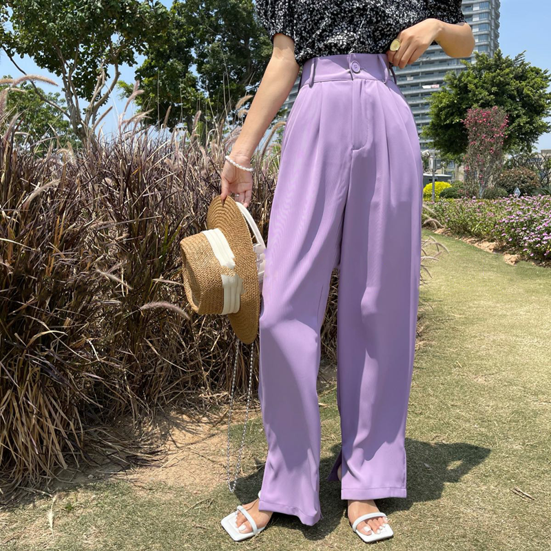 Early summer trousers polyester cotton blended fabric thin straight tube new fazia slim high waist split versatile trousers