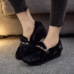 毛毛鞋女秋冬外穿新款时尚网红厚底貂毛鞋女水貂瓢鞋厚底松糕水钻