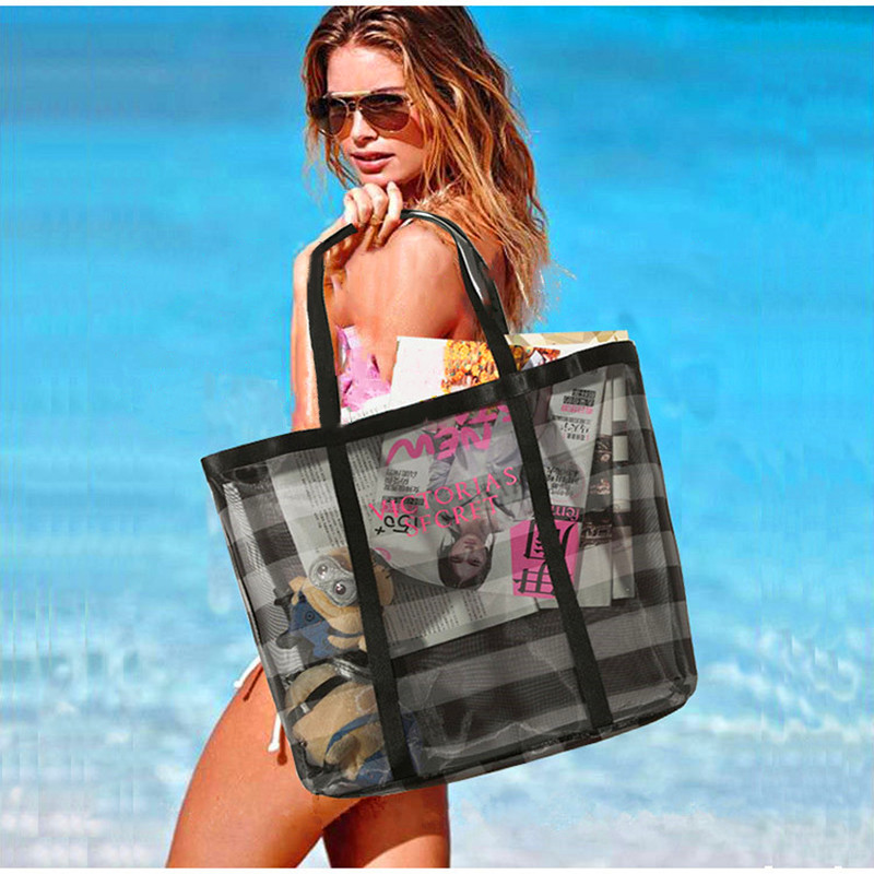 European and American large capacity beach bag womens simple travel and holiday fitness portable one shoulder transparent mesh environmental protection shopping bag