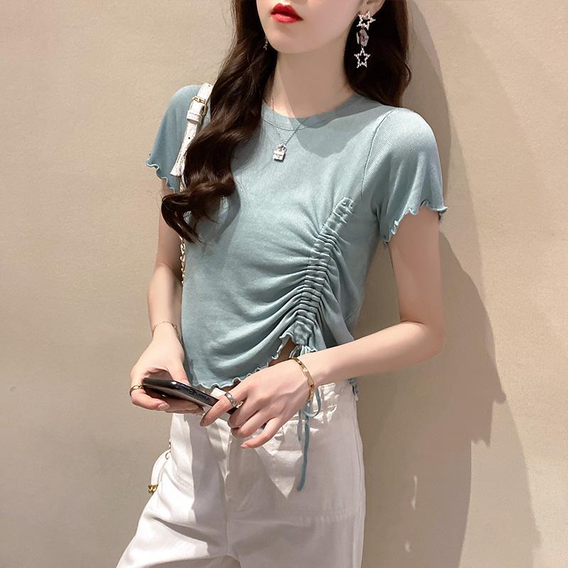 实拍2020夏装圆领设计感短袖t恤针织衫女糖果色薄款修身上衣