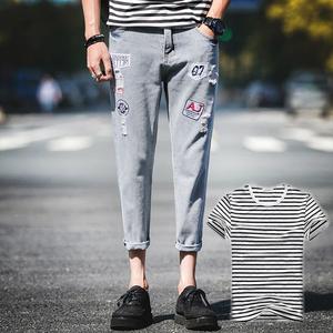 買一送一夏天衣服男裝韓版短袖潮流男士T恤和九分牛仔褲一套裝潮