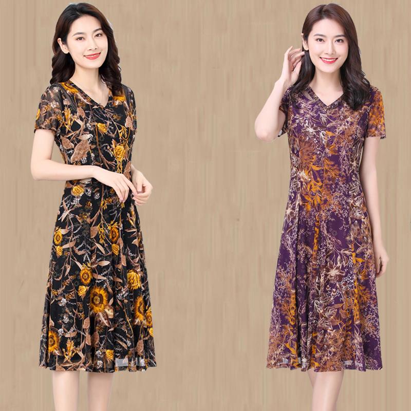 2021夏季新款中年高档品牌弹力台湾网纱中老年女装妈妈真丝连衣裙