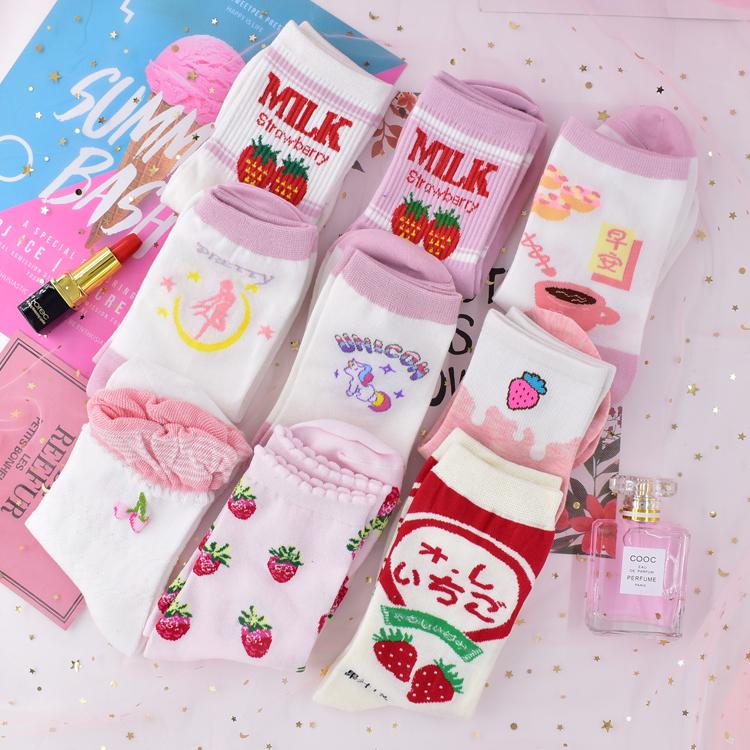 五折促销日系软妹洛丽塔少女心字母独角兽草莓袜子白色学生全棉美少女短袜