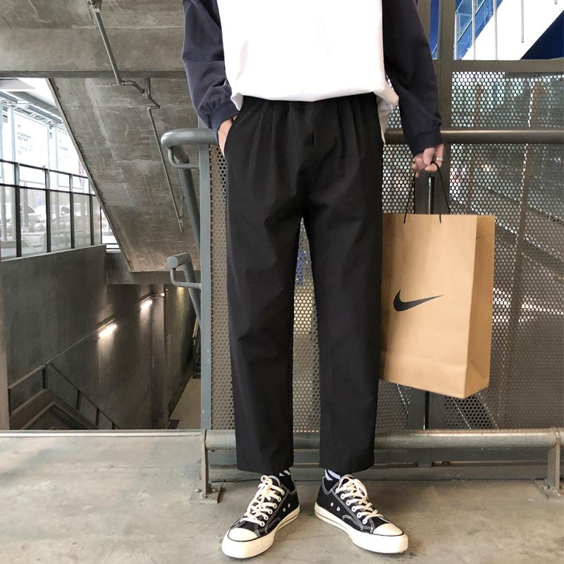 Autumn pants mens trousers loose straight pants wide leg Capris versatile suit pants trend casual pants mens trousers