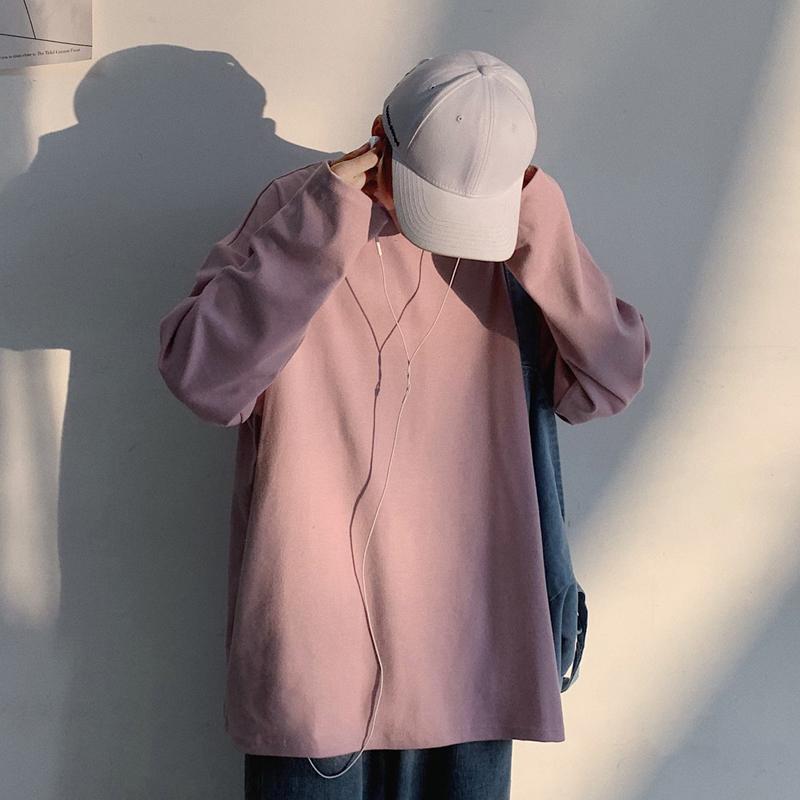 10色入~日系简约纯色长袖T恤秋装百搭港风男女韩版纯棉宽松打底衫(非品牌)