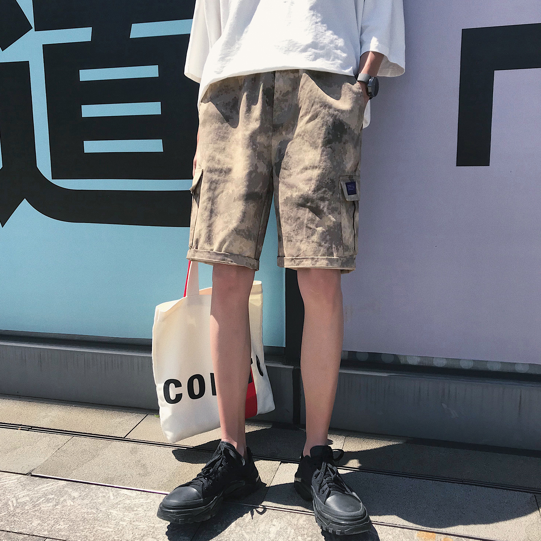 日系复古夏装新款百搭宽松迷彩短裤男士五分裤子工装休闲中裤沙滩