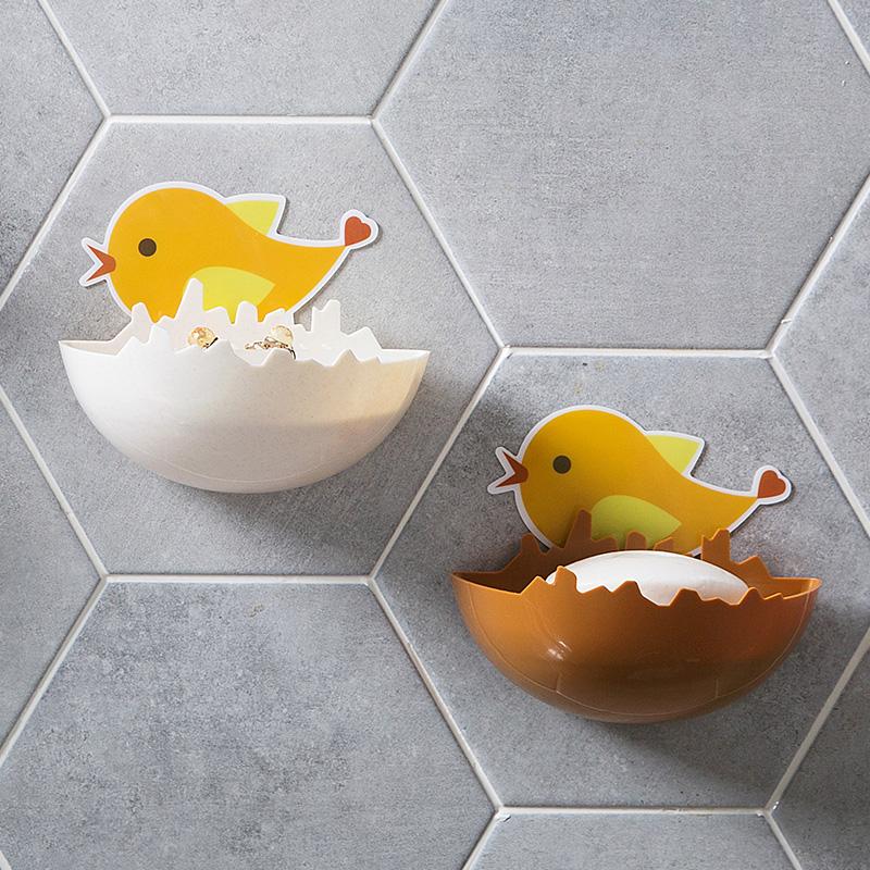 创意免打孔卡通香皂盒塑料粘贴沥水皂盒卫生间壁挂式收纳盒肥皂盒(用1元券)