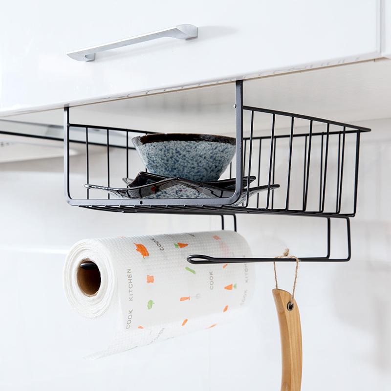 正品保证免打孔橱柜挂架厨房用品调料架储物架浴室多功能挂篮收纳架置物架