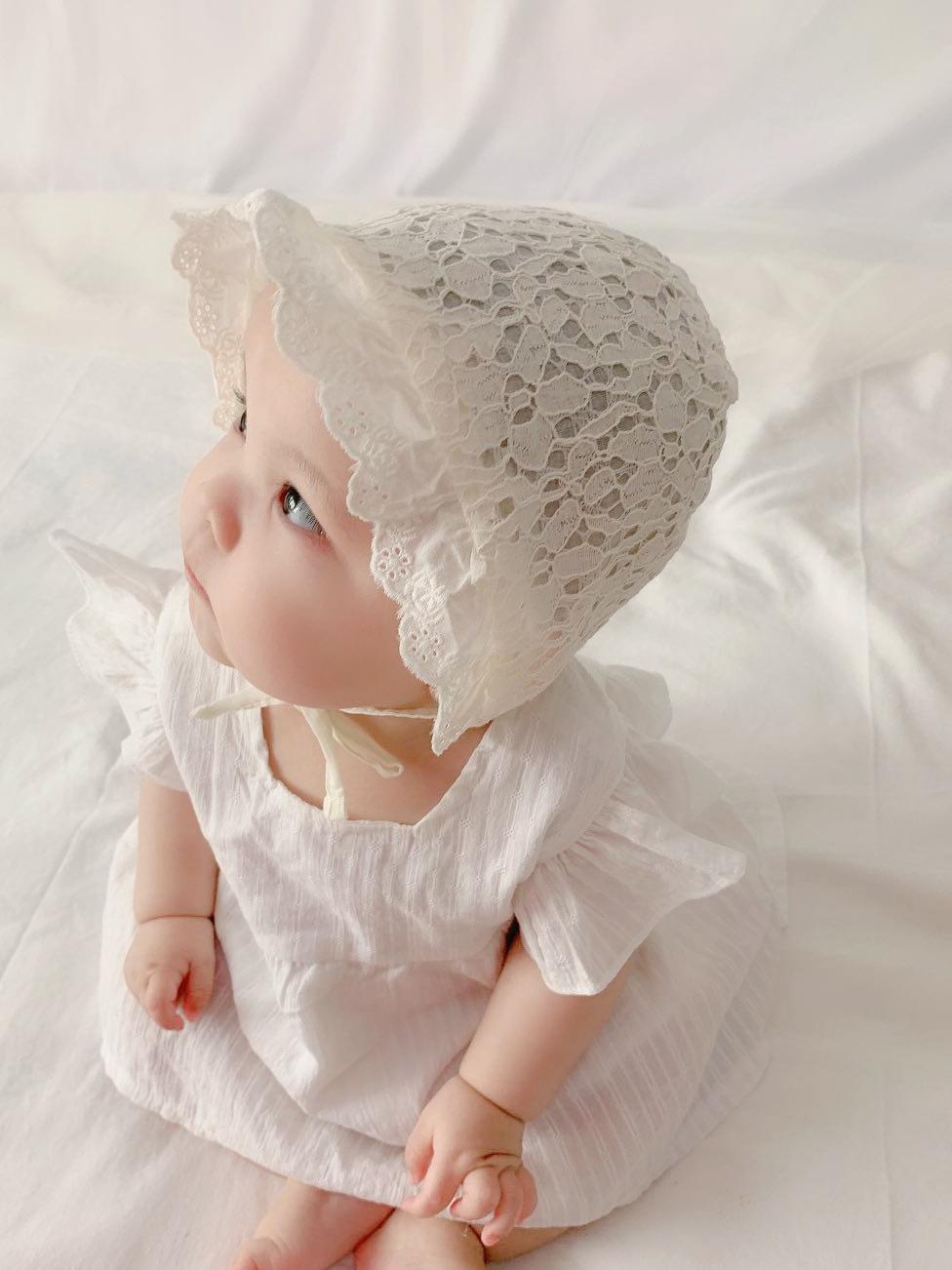 日本宝宝网红帽子婴儿春夏季薄款女宝宝新生儿公主帽防晒洋气超萌