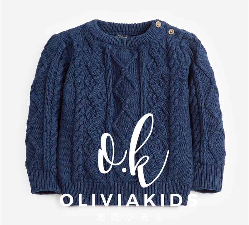 英国儿童新款秋冬棉线毛衣男童针织衫藏青色圆领中小童麻花毛衣