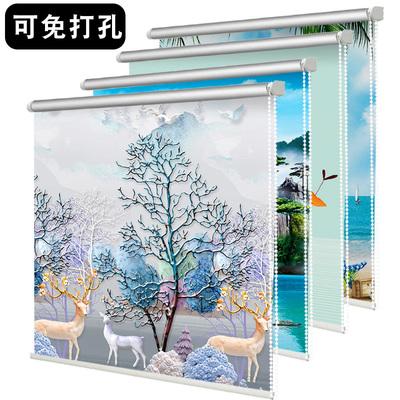 免打孔卫生间窗帘卷拉式风景简易遮光遮阳上下拉卷式拉绳伸缩卷帘