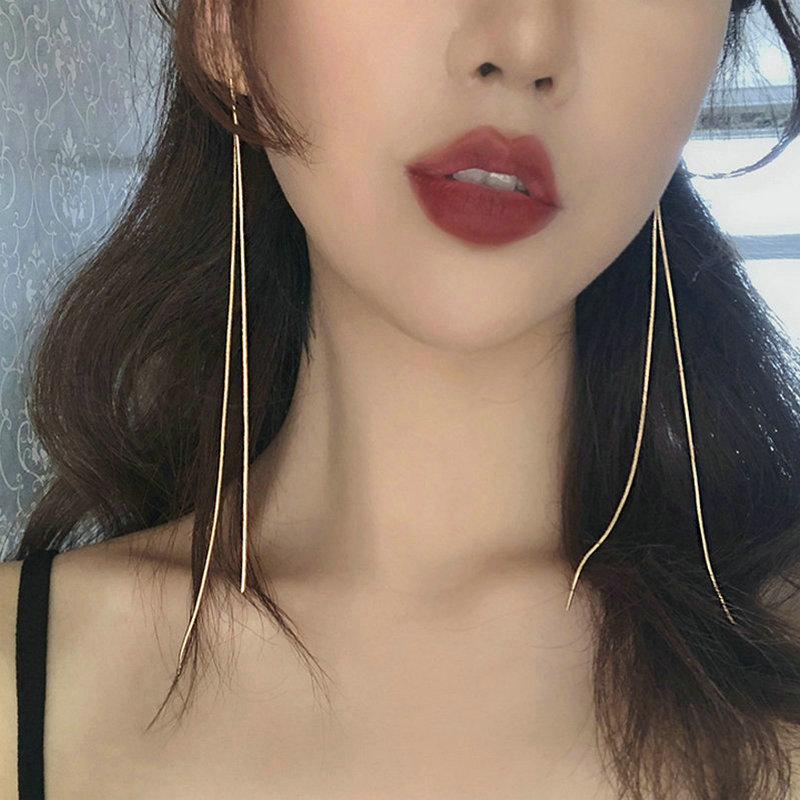 2021年新款潮个性简约超长流苏耳线韩版S925银针金属耳环耳钉女