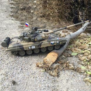 遥控坦克模型战车冒烟儿童电动玩具3938 现代俄罗斯T90主战仿真