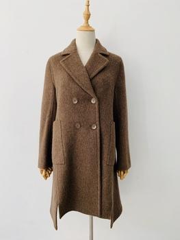 2020新品样衣羊毛阿尔巴卡咖色大衣