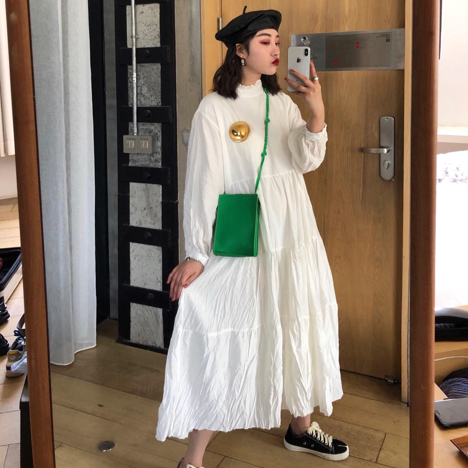 满99元可用5元优惠券Keiko s stylish2019新款仙女褶皱高质感百搭仙气连衣裙女秋