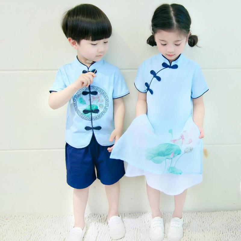 女童汉服12-15岁唐装夏装套装明制男童中国风童装儿童古装演出服假一赔三