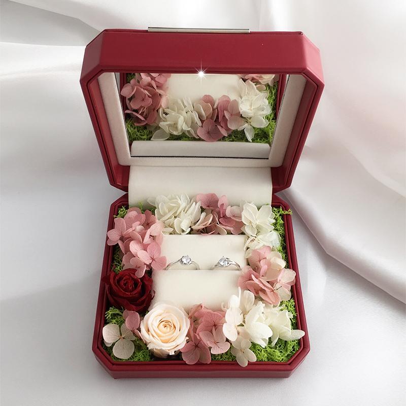 LED lamp proposal ring box wedding single ring high grade diamond ring box immortal flower creative jewelry box jewelry storage