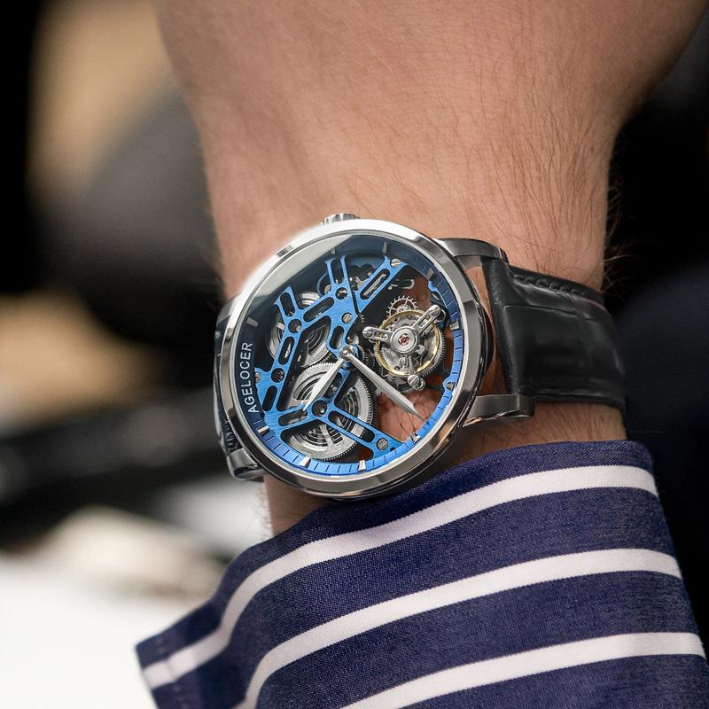 艾戈勒正品瑞士手表男新款镂空飞行陀飞轮机械表防水透底精钢腕表
