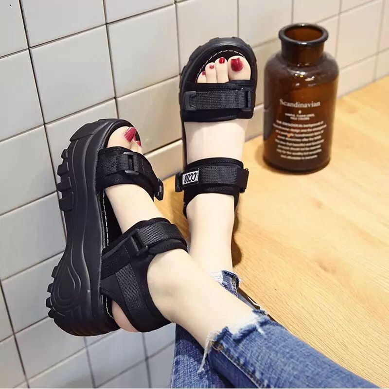 Small 33 thick soled raised sandals female 2021 summer new versatile student slope with Roman fairy style Muffin