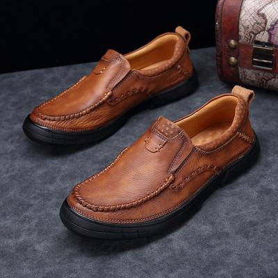 吉普 盾男鞋商务休闲鞋男头层牛皮厚底耐磨真皮男士皮鞋子男潮流