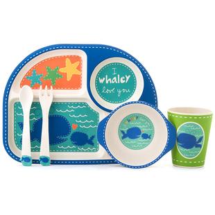 儿童餐具餐盘分格卡通竹纤维婴儿碗勺叉子水杯幼儿园家用宝宝餐盘