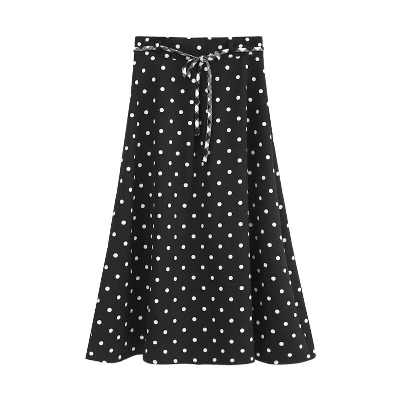 学生超百搭的波点半身裙女秋2019新款高腰系带拉链A字裙少女长裙
