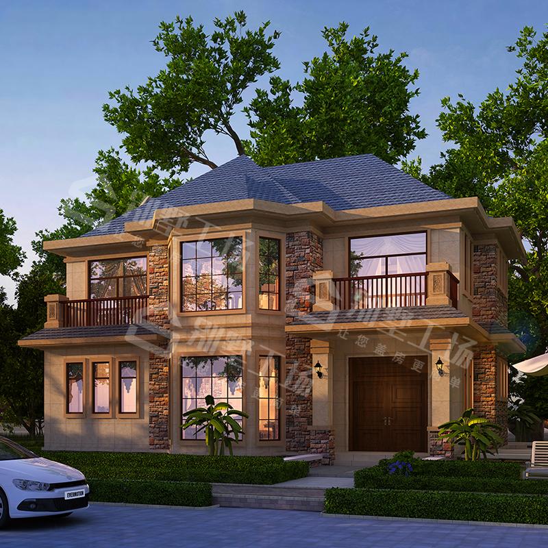GC204二2层欧式别墅设计图纸新农村自建房屋设计效果图建筑施工图