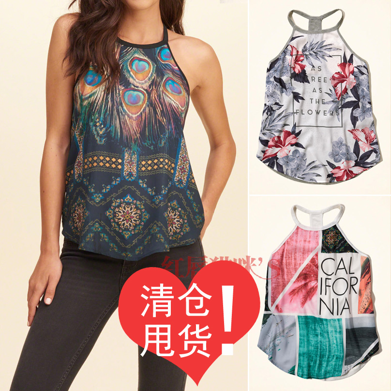 Special clearance goods! Ou home ~ thin cool! Printed chiffon Jersey round neck sling chiffon vest for women