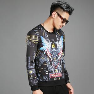 萊佰葉秋季男士純棉新款休閑時尚個性韓版潮流長袖圓領衛衣